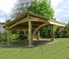 Bespoke glue laminated Carport Revelatio - garage and shed - bristol - EcoCurves Carport Sheds, Carport Plans, Carport Garage, Garden Structures, Outdoor Structures, Carports For Sale, Wooden Carports, Rv Carports, Carport Designs
