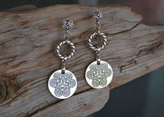 Silver Round Earrings Simple Silver Earrings Round by LKArtChic