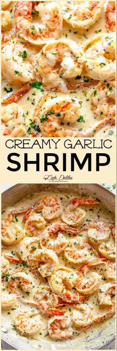 Creamy Garlic Shrimp With Parmesan (Low Carb) - Cafe Delites - essen/kochen - Pasta Shrimp Recipes For Dinner, Shrimp Recipes Easy, Seafood Dinner, Fish Recipes, Seafood Recipes, New Recipes, Cooking Recipes, Healthy Recipes, Keto Dinner