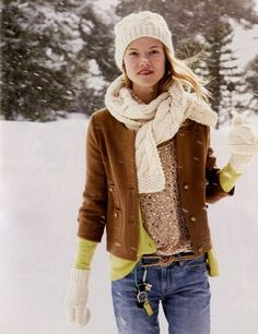 love the mix of textures + colors - sequins + leather + knit + chartreuse + good old denim