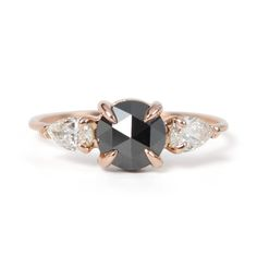 Black and white diamonds in rose gold setting // Women in Weddings Weigh in on Engagement Rings