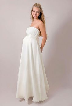 Maternity Wedding Dresses 2016 Strapless White Chiffon Ruched Empire Long Pregnant Bridal Gowns With Sash Vestidos De Novia For Brides