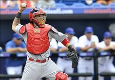 Yadier Molina throws to second during the game against the Mets.  The Cardinals defeated the Mets 12-4.    2-27-13