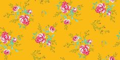 Winter Poppies Yellow (2000184) - Paper Moon Wallpapers - A pretty floral design of winter poppies. Showing in pink and blue on mustard yellow. Other colour ways available. Please request a sample for a true colour match. Paste-the-wall product.  As this is a special order product, it may take 7-10 working days.