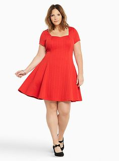 Textured Knit Skater DressPlus Size, RACING RED from Torrid... but where can I find those shoes? So cute with the little bow!
