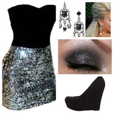 Potential holiday party ensemble? Black & silver sparkle strapless dress, black wedge pumps, chandelier earrings, smokey eye & half up hairdo.