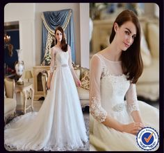 Find More Wedding Dresses Information about 2015 New Design Real Photos Elegant Lace A line Sleeve Wedding Dresses With Crystal Beaded Belt ,High Quality dress wedding reception,China dress fittings wedding Suppliers, Cheap dresse from Top-Bride Professional Factory & Design on Aliexpress.com