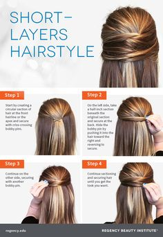 braids - How to Create a Cute Style Perfect for Short Layers New Hair Styles Short Hair With Layers, Layered Hair, Short Hair Cuts, Work Hairstyles, Straight Hairstyles, Wedding Hairstyles, Popular Hairstyles, Easy Ponytail Hairstyles, Hairstyle Ideas