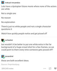 DO IT. || and this could actually be v relevant and logical. white is not a biological default, really. the pigment lightens the farther u get from the equator. also, it's technically a genetic mutation. but if DNA goes in other directions / if heat-/sun-related dystopian epidemics emerge / etc., this would be 100% plausible from a scientific view as well.