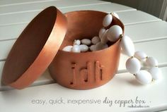 Beautiful and simple painted copper boxes from nelliebellie.com