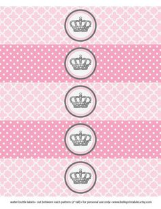 Items similar to Baby Shower or Birthday Party Little Pincess Crown 2 Patterns - Print Water Bottle Labels Wrap - DIY Print Your Own on Etsy Little Man Birthday, Baby Girl Birthday, Pink Birthday, Princess Birthday, Baby Shower Princess, Baby Princess, Little Princess, Baby Shawer, Baby Kids