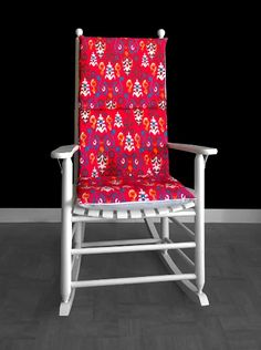 Machine Washable Red Flower Pattern Rocking Chair Cover | affordable, designer, custom, handmade, trendy, fashionable, locally made, high quality Rocking Chair Covers, Rocking Chair Cushions, Ikea Kids Room, Chair Cushion Covers, Kids Room Organization, Kids Room Design, Slipcovers For Chairs, Red Flowers, Flower Patterns