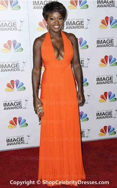 Viola Davis-2012 Sheath/Column Floor-length Chiffon NAACP Image Awards Dresses(SCD445)