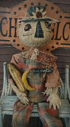 Your place to buy and sell all things handmade Scarecrow Doll, Halloween Doll, Fall Halloween, Halloween Crafts, Scarecrow Ideas, Halloween Foods, Halloween Porch, Cowboy Christmas, Primitive Christmas