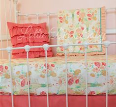 Custom nursery accessories for Reminisce by LottieDaBaby--- love this ruffled pillow!!