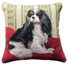 "Amazon.com - Tri Color Cavalier King Charles Spaniel Dog Portrait Wool Needlepoint Throw Pillow - 14"" -"
