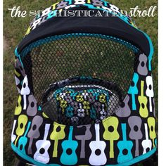 Stroller accessory // stroller accessories // Britax BReady Canopy Comfort Set by SophisticatedStroll // breezeway flap // lagoon guitar print // etsy