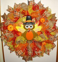 Turkey Burlap and Mesh Wreath Autumn Wreath by StarlightWreaths
