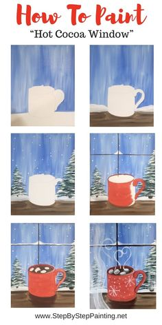 """How To Paint """"Hot Cocoa Window"""" - Step By Step Painting - Best Picture For mason jar crafts For Your Taste You are looking for something, and it is going t - Paint And Sip, Canvas Painting Tutorials, Diy Painting, Rock Painting, Christmas Paintings On Canvas, Canvas Paintings, Winter Art Projects, Halloween Painting, Guache"""