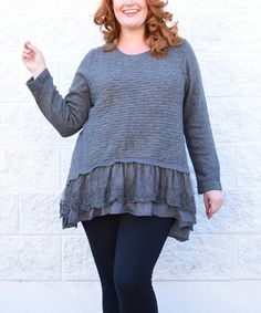 This Simply Couture Gray Ruffle Tunic - Plus by Simply Couture is perfect! #zulilyfinds
