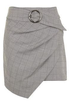Wrap Belted Check Skirt