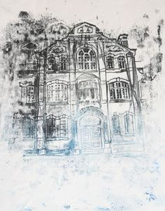 Monoprint illustration by John Parkinson Monoprint Artists, Printmaking, Building Illustration, A Level Art, Environmental Art, Art Techniques, Art And Architecture, Art Lessons, Fine Art Prints