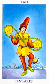 Two of Pentacles Tarot Card Meanings tarot card meaning
