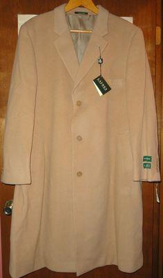 NWT Lauren Ralph Lauren Mens Columbia Topcoat Size 48 Regular Tan Cashmere Blend #LaurenRalphLauren #TopcoatOvercoat