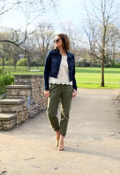 Cotton Outfit, Eyelet top, Olive Chinos, Jean Jacket, Easy Spring Outfit