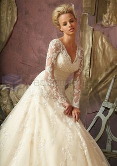 ball gown wedding dresses with long trains | Satin Embroidered Ball Gown Long Sleeves V-neck Neckline Wedding Dress