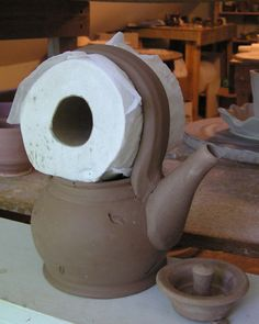 Fine Mess Pottery: AGAIN, with the TP  Funny! But looks like it works :)