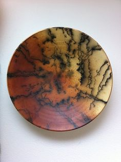 'Horse Hair Bowl' - wheel thrown raku fired with iron and horse hair by Lance Timco (decorative use only)
