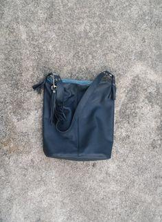 Back to School Dark Blue Leather Book Bag with Tassel Fringe Shoulder Bag Messenger Satchel Made in USA by jewelrypieces on Etsy