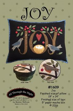 Joy Bird Nest Pillow and Box Project Wool Quilt Pattern All