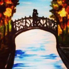 Bridge of Hearts tonight 💚💜💙💛 Dip And Dab, Atlanta, Bridge, Hearts, Studio, Painting, Home Decor, Decoration Home, Room Decor