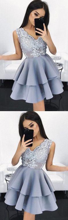 2018 mini homecoming dresses applique sleeveless v-neck short prom dresses,HS195  #homecomingdress#fashion#promdress#eveningdress#promgowns