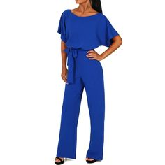 Sexy Dance - Short Sleeve Playsuit for Women Plus Size Wrap Drawstring Tie Jumpsuit Long Pants Romper Casual Trousers Evening Party Clubwear - Walmart.com - Walmart.com Jumpsuit Casual, Overall Jumpsuit, Elegant Jumpsuit, Long Jumpsuits, Jumpsuits For Women, Shirts & Tops, Outfits Teenager Mädchen, Romper Long Pants, Sewing Patterns