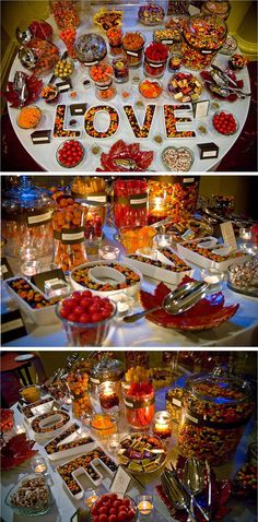 Amazing Fall Wedding Candy Buffet that uses our LOVE plate set as a focal point. Creativity attributed to Williamsburg Wedding Design and photos from Brad Howe Photography.