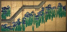 Eight-Planked Bridge (Yatsuhashi), Ogata Korin (Japanese, 1658–1716). Pair of six-panel folding screens; ink and color on gilded paper; Each 70 1/2 in. x 12 ft. 2 1/4 in. (179.1 x 371.5 cm). Purchase, Louisa Eldridge McBurney Gift, 1953 (53.7.1-2). Photo: The Metropolitan Museum of Art, New York