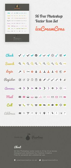 Icecreamcons  http://www.peartreecreative.co.uk/96-free-photoshop-vector-icons-free-psd-download-icecreamcons/
