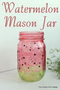 Watermelon Mason Jar -- learn how to paint a great watermelon mason jar craft for summer.  Perfect for decorating your home or for parties.  The jar turns out see through so you can add candles easily.: