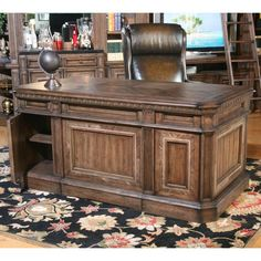Parker House Aria Library Double Pedestal Executive Desk with 6 Drawers and 1 Flip Down Drawer and Hidden Storage - Beck's Furniture - Double Pedestal Desk Sacramento, Rancho Cordova, Roseville, California Home Office Desks, Home Office Furniture, Office Decor, Office Ideas, Rustic Office, Office Table, Office Spaces, Furniture Storage, Bathroom Furniture