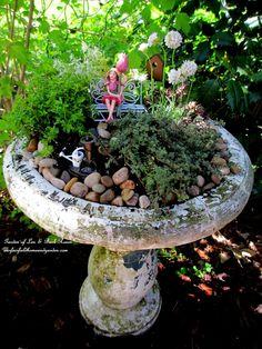 DIY Project ~ Mother's Day Fairy Garden (Garden of Len & Barb Rosen) by Kim co Magic Garden, Garden Art, Garden Design, Fairies Garden, Fairy Garden Ornaments, Garden Beds, Gnome Garden, Garden Planters, Bird Bath Planter