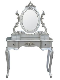 French style shabby chic boudoir Silver 3-Drawer Dressing Table