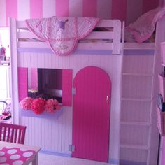 Loft bed that Alan made for the little girls!