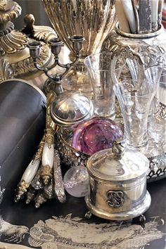 That's what we call a real antique silver display vignette - get all your silver out of your cupboards and let it be displayed in all its 'grandeur'