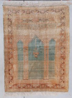 circa 1880 silk Sivas prayer rug in perfect condition with a turquoise ground and a border of dark peach and sea green flower heads.This rug is an absolutely perfect condition Geometric Trees, Prayer Rug, Peach Flowers, Rugs On Carpet, Carpets, Mosaic Patterns, Vintage Rugs, Kilims, Weaving