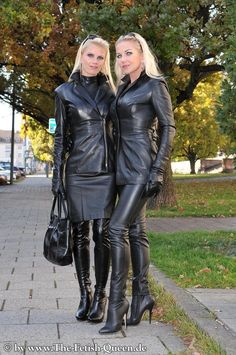 Two blondes in leather outfits: jacket leggings skirt thigh boots