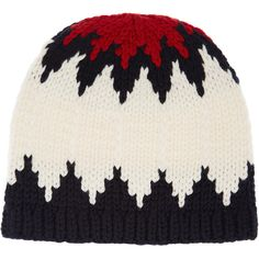 Chloé Snow Capsule intarsia wool beanie (4317500 BYR) ❤ liked on Polyvore featuring accessories, hats, ivory, beanie hats, wool hat, print hats, pattern hats and chloe hat