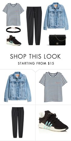 """""""casual look"""" by nabilahzahra on Polyvore featuring H&M, Uniqlo, adidas and Astrid & Miyu"""
